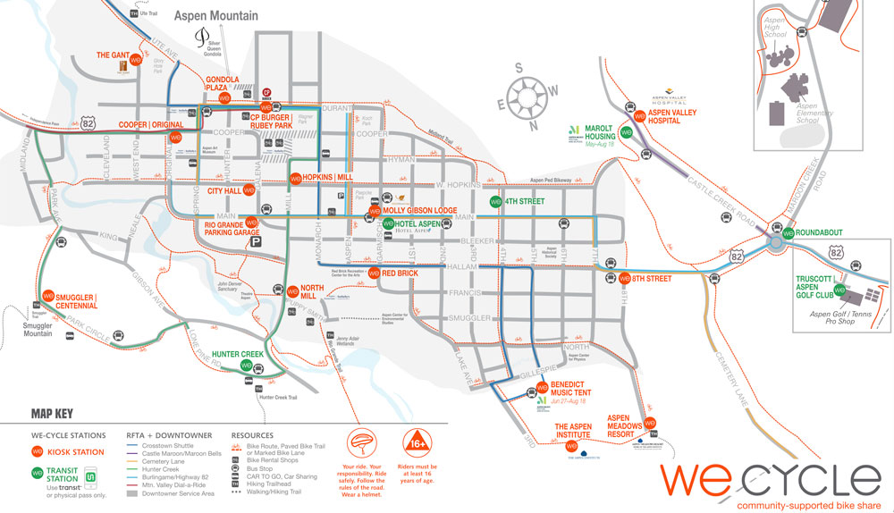 WE-cycle Aspen station map graphic