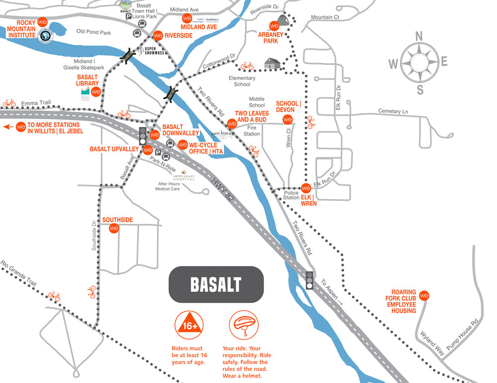 WE-cycle Basalt station map graphic