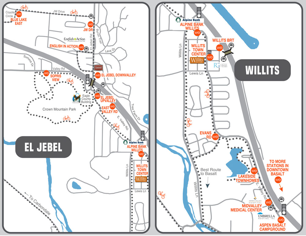 WE-cycle El Jebel and Willits station map graphic