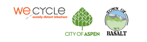 WE-cycle, City of Aspen and Town of Basalt logos