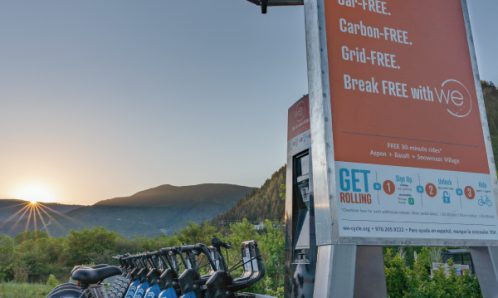WE-cycle e-bike charging station powered by skyhook solar