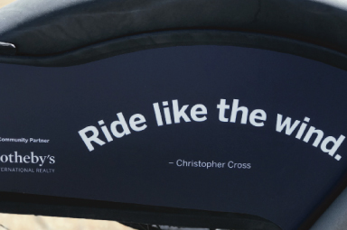 Ride Like the Wind fender quote